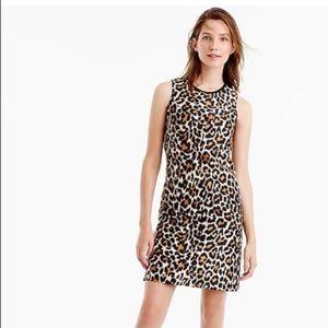 J CREW A-LINE SHIFT DRESS IN LEOPARD PRINT